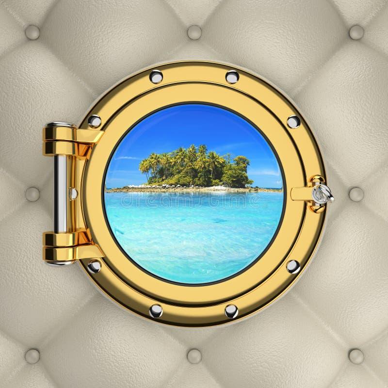 Ansicht durch das luxuriöse Bootsfenster lizenzfreies stockfoto