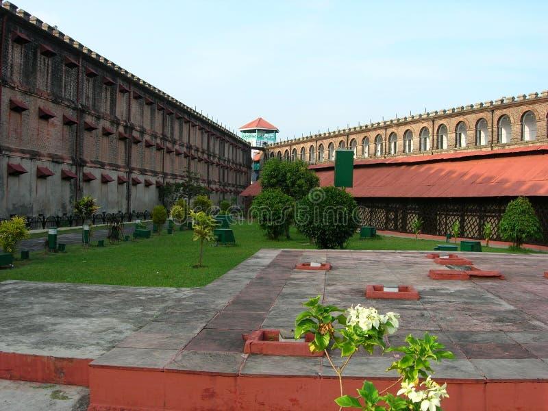 Ansicht durch die zellularen Gefängnisvoraussetzungen (Indien) lizenzfreies stockfoto