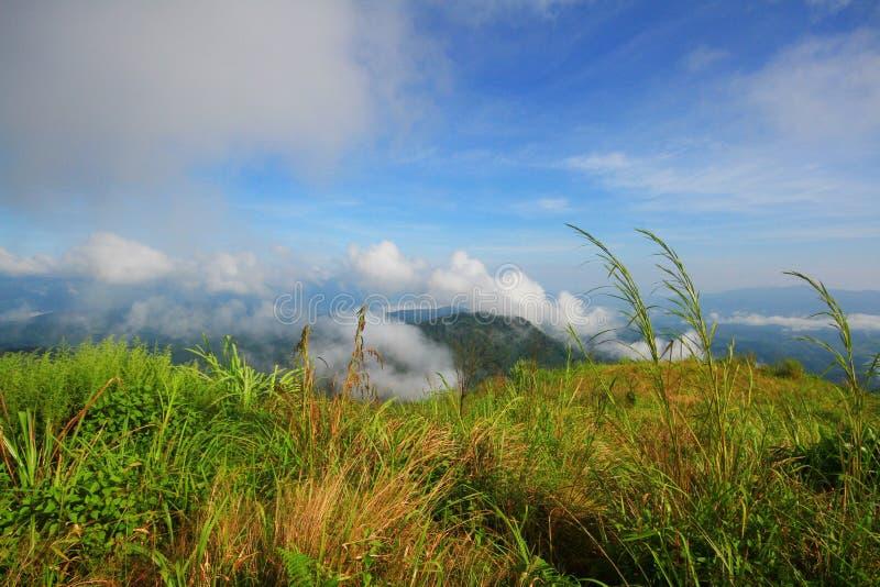 Ansicht an einem Gebirgszug mit Morgennebel in einem Gebirgstal stockfoto