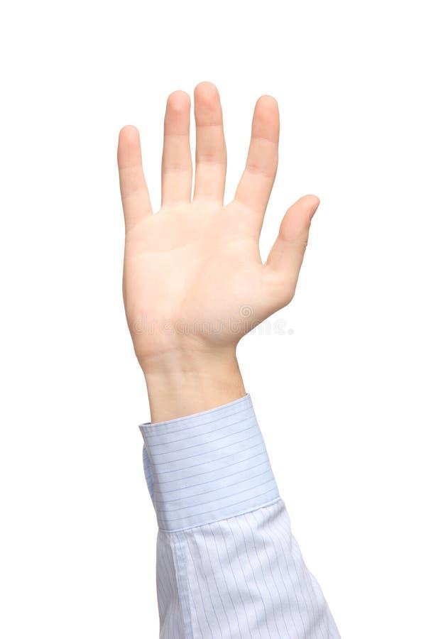 Ansicht einer angehobenen Hand stockbild