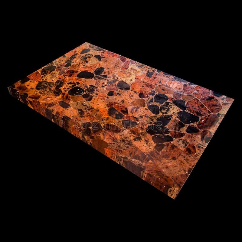 Ansicht einer Obsidian-Platte auf einem schwarzen Hintergrund stockfotografie