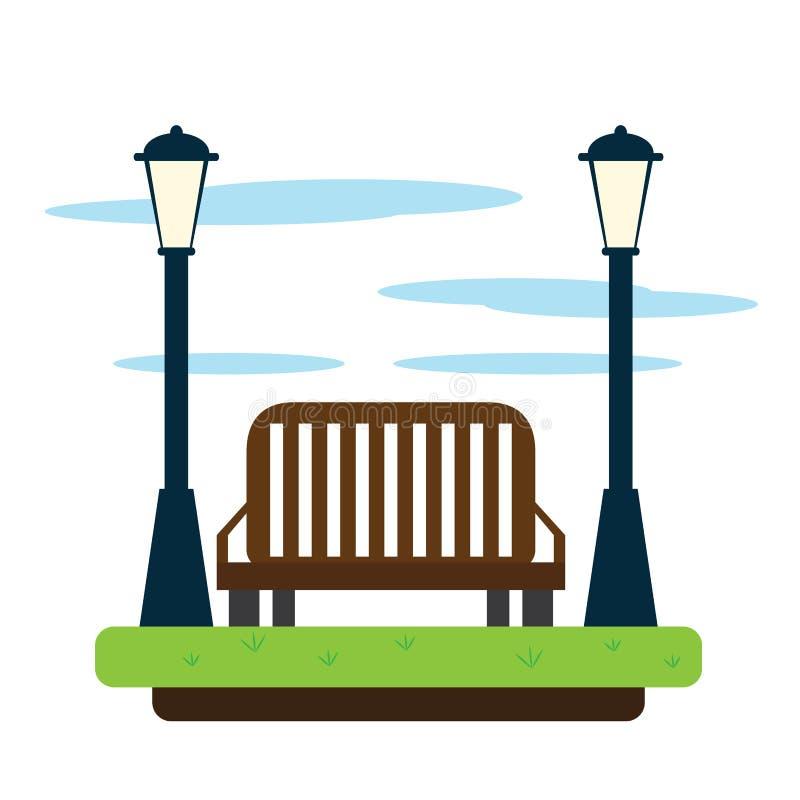 Ansicht eines allgemeinen Parks mit Lampen und einer Bank lizenzfreie abbildung