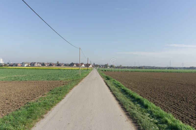 Ansicht eines leeren grünen Feldes mit einem cityline lizenzfreies stockbild