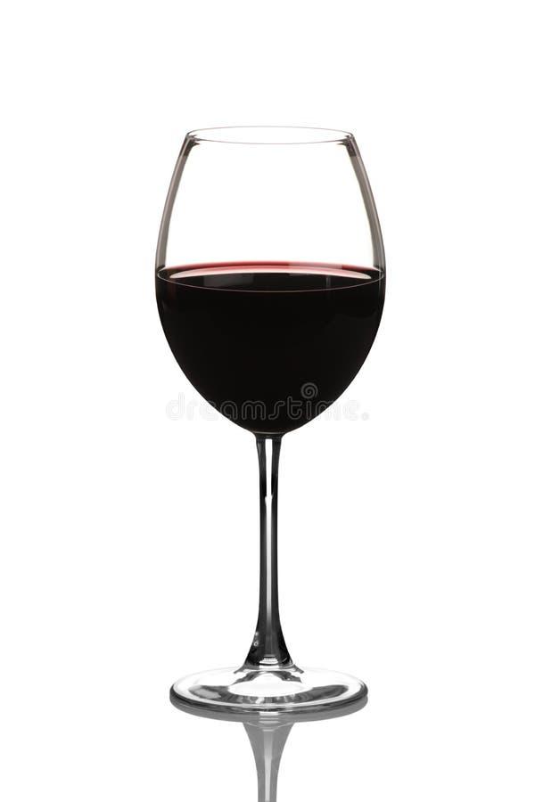 Ansicht eines Rotweinglases stockbild