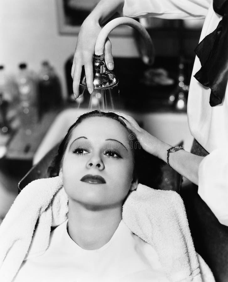 Ansicht eines waschenden Haares des weiblichen Friseurs einer jungen Frau in einem Friseursalon (alle dargestellten Personen sind lizenzfreie stockbilder