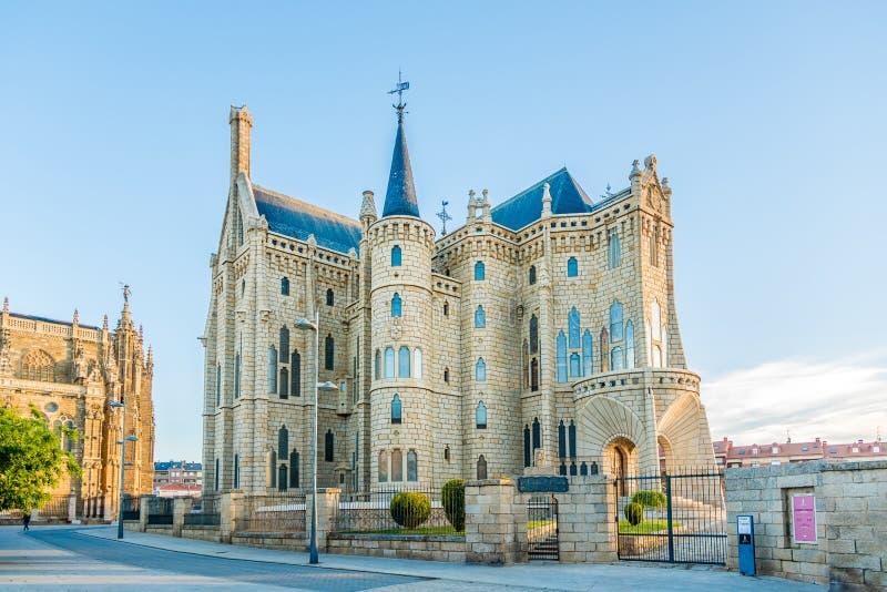 Ansicht am episkopalen Palast von Astorga in Spanien stockfoto