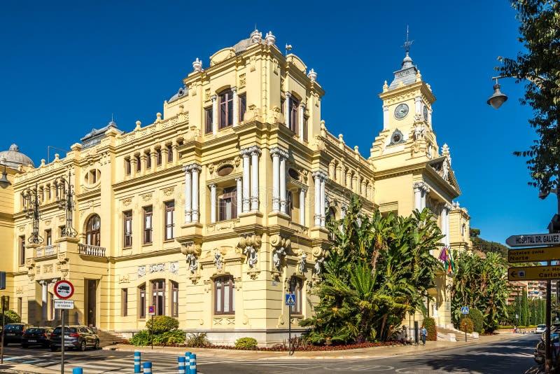 Ansicht am Gebäude Rathaus von Màlaga in Spanien stockbilder
