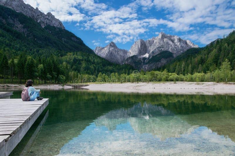 Ansicht Julian Alpss von Kranjska Gora, Slowenien stockfoto