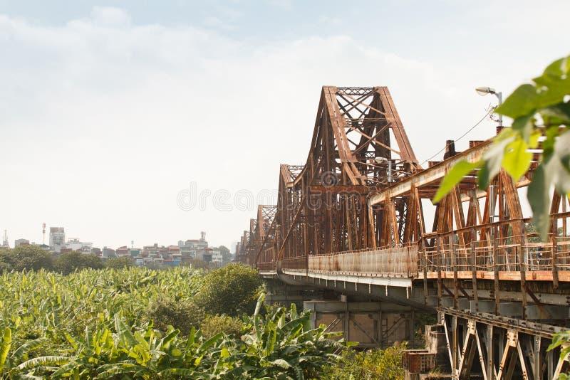 Ansicht langer Bien-Brücke Hanoi, Vietnam Longbien lizenzfreie stockbilder