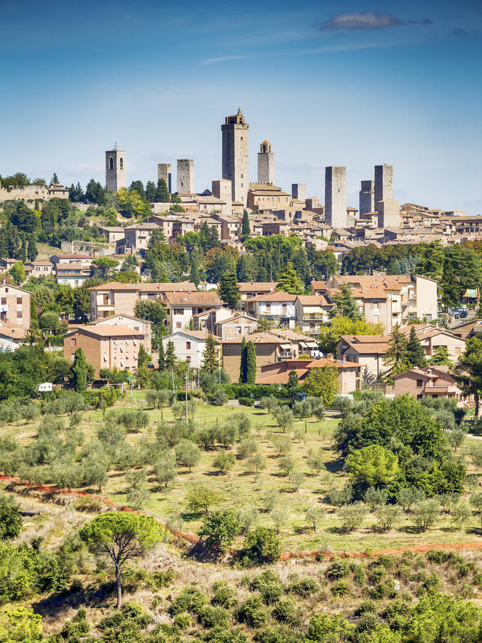 Ansicht nach San Gimignano stockfoto