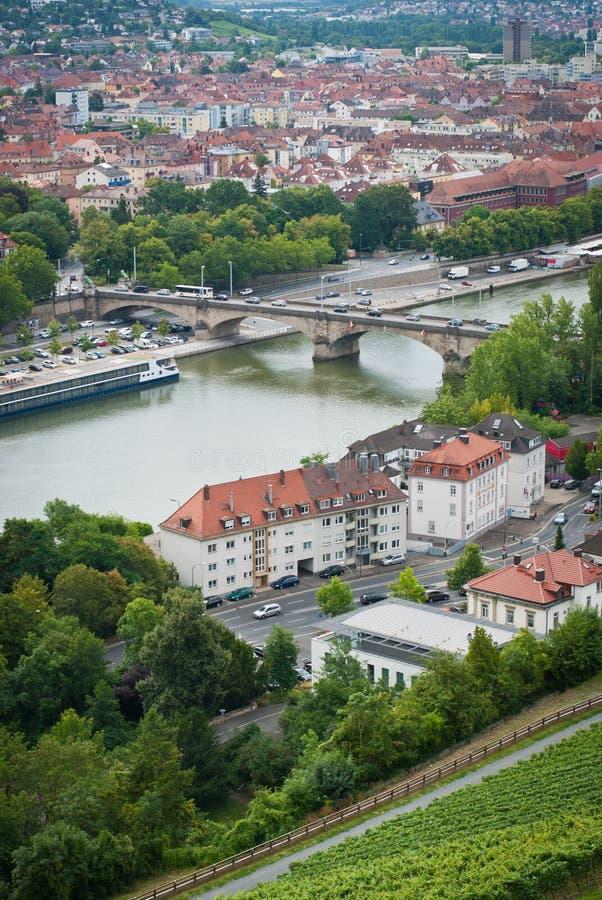 Ansicht nach Würzburg vom Marienberg-Festungs-Schloss, Würzburg, Bayern, Deutschland stockfotos