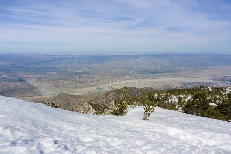 Ansicht in Richtung zu einem Feld von Windkraftanlagen im Nordpalm springs, Coachella Valley, vom Berg San Jacinto State Park, Ka stockfotografie