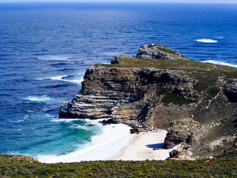 Ansicht in Richtung zu Kapstadt vom Umhang-Punkt, SüdAfri stockbilder