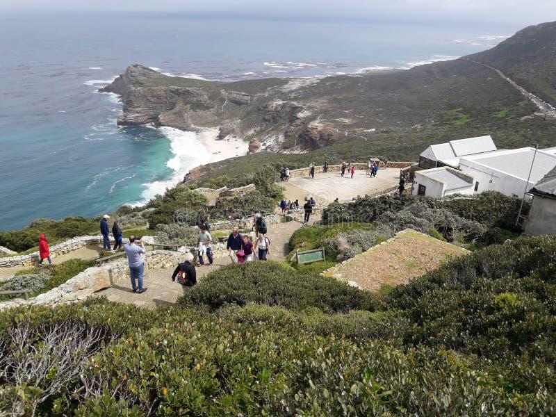 Ansicht in Richtung zu Kapstadt vom Umhang-Punkt, SüdAfri lizenzfreies stockbild