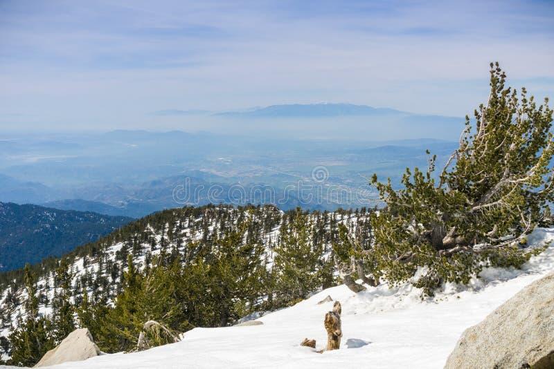 Ansicht in Richtung zu Moreno Valley von Spitze Berg-Sans Jacinto, Kalifornien stockbilder