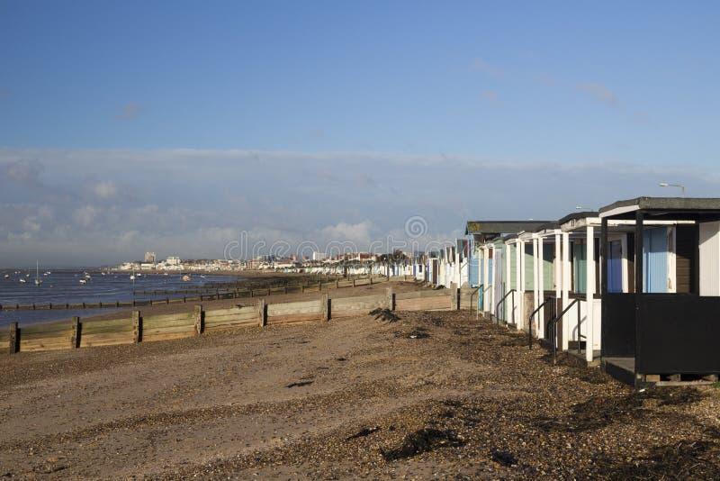 Ansicht in Richtung zum Southend-auf-Meer von Thorpe Bay, Essex, England lizenzfreie stockfotografie