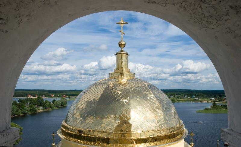 Ansicht in Seliger See vom Glocke-Kontrollturm lizenzfreies stockfoto