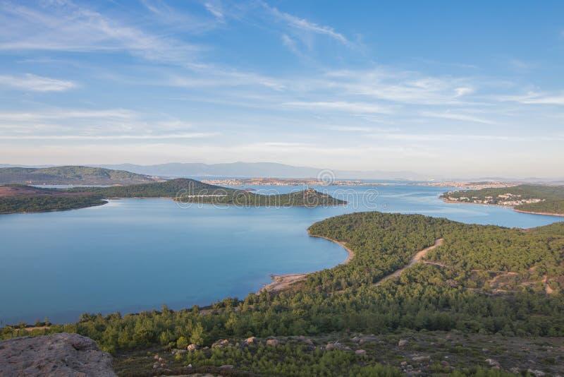 Ansicht Seytan Sofrasi in Ayvalik, Balikesir, die Türkei stockbild