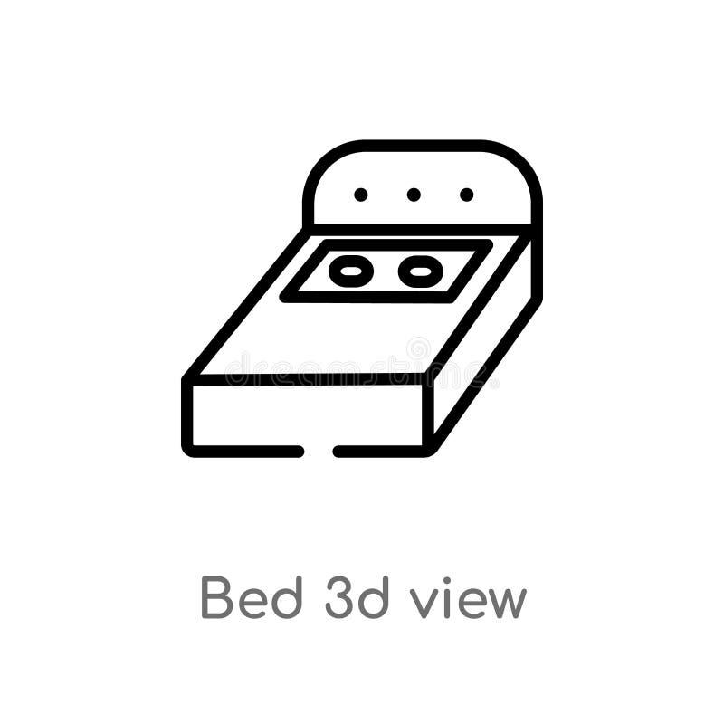 Ansicht-Vektorikone des Entwurfsbetts 3d lokalisiertes schwarzes einfaches Linienelementillustration vom Geb?udekonzept Editable  stock abbildung
