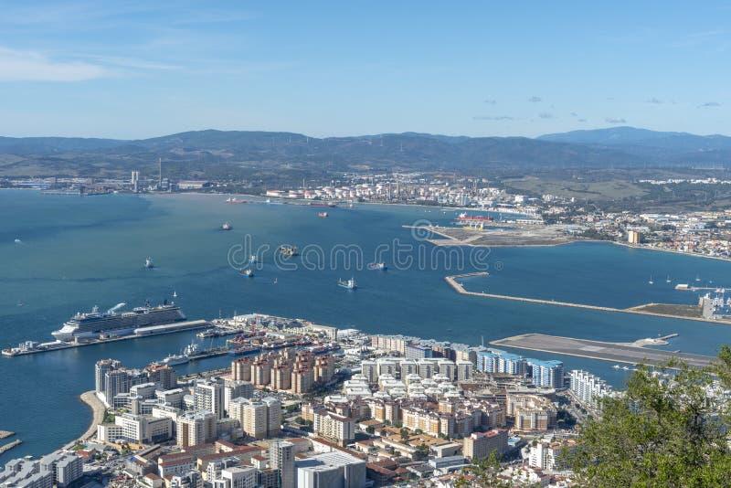 Ansicht vom Felsen von Gibraltar stockfotos