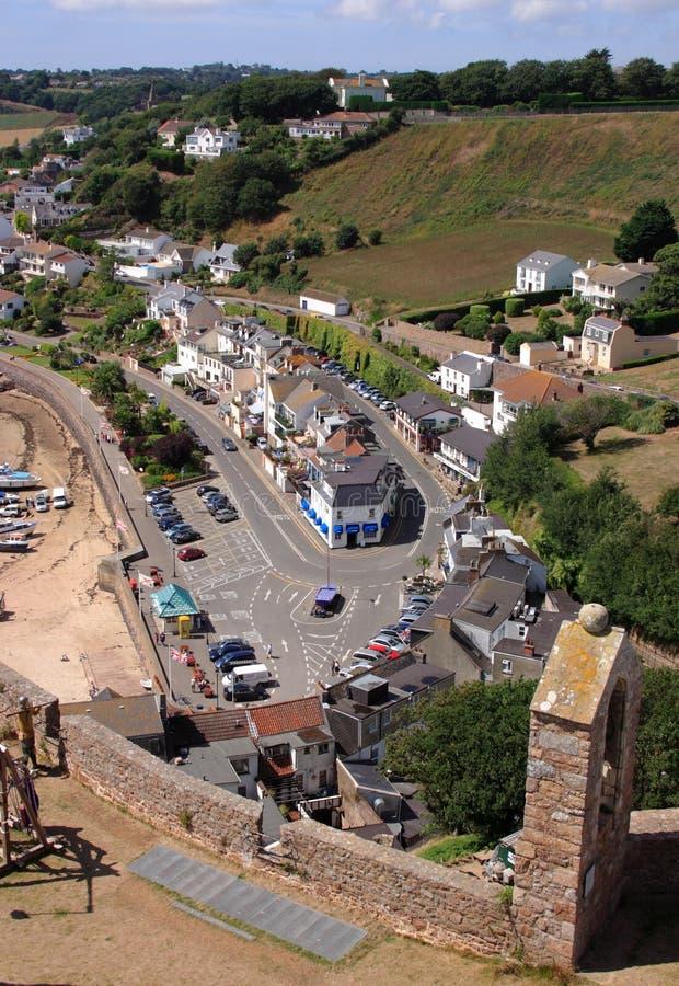 Ansicht vom Gorey Schloss, Jersey lizenzfreie stockfotografie