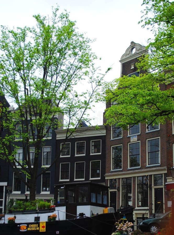 Ansicht vom Kanal zu den Häusern in Amsterdam stockfotos