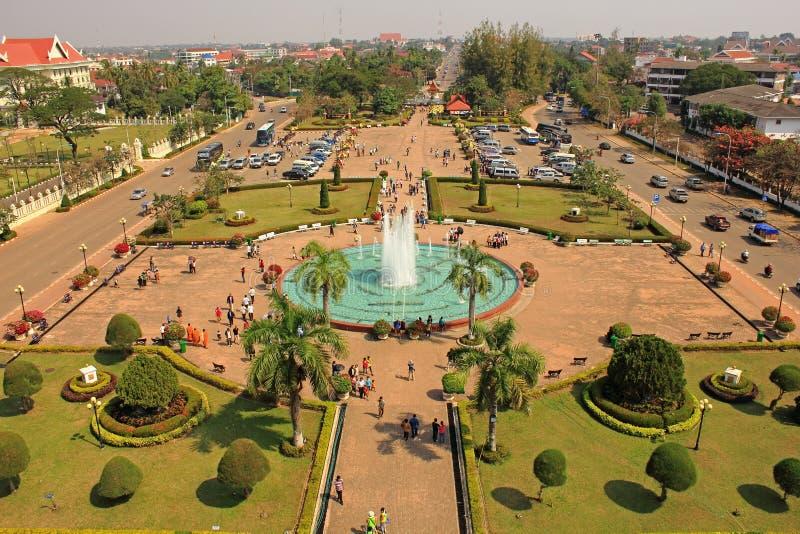 Ansicht vom Patuxai Denkmal, Vientiane stockbilder