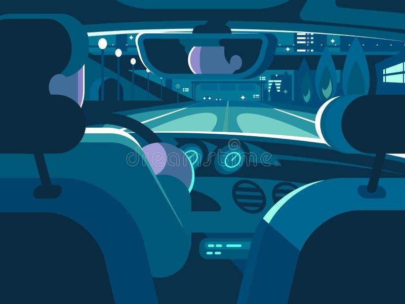 Ansicht vom Rücksitz des Autos stock abbildung