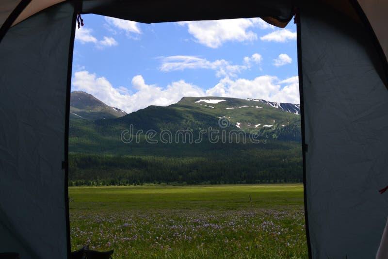 Ansicht vom Zelt stockbild