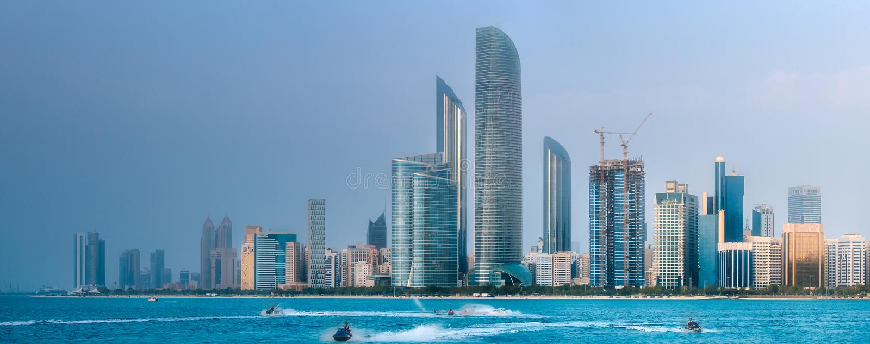 Ansicht von Abu Dhabi Skyline zur Tageszeit, UAE stockbilder