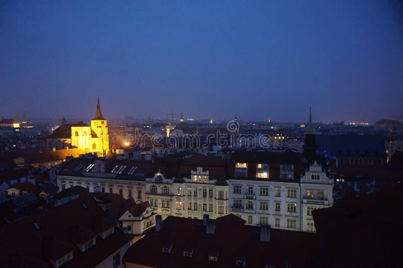 Ansicht von altem Prag von klementinum Turm lizenzfreies stockfoto