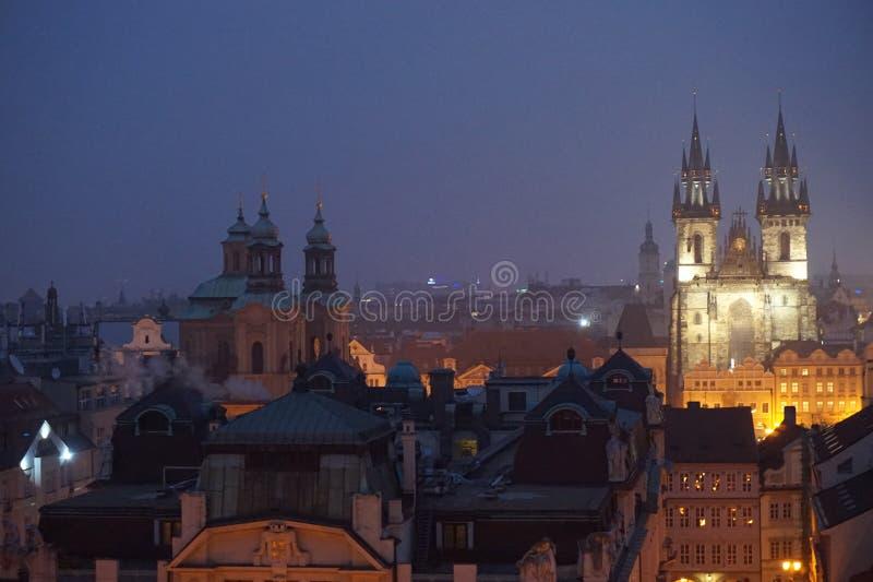 Ansicht von altem Prag von klementinum Turm lizenzfreie stockfotos