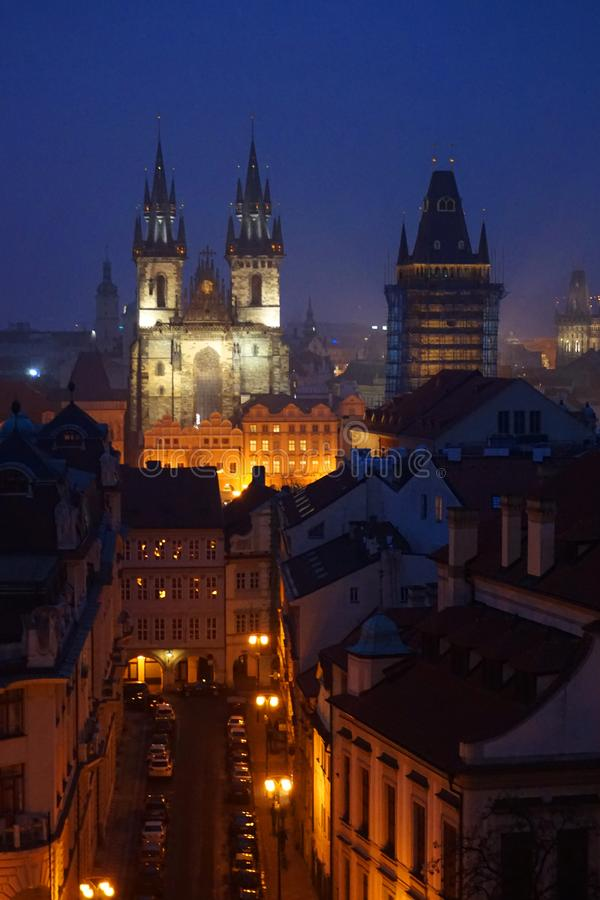 Ansicht von altem Prag von klementinum Turm stockfoto
