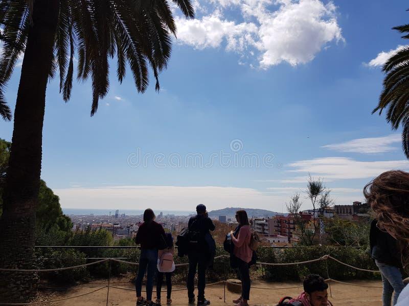 Ansicht von Barcelona vom Park Guell stockfotos