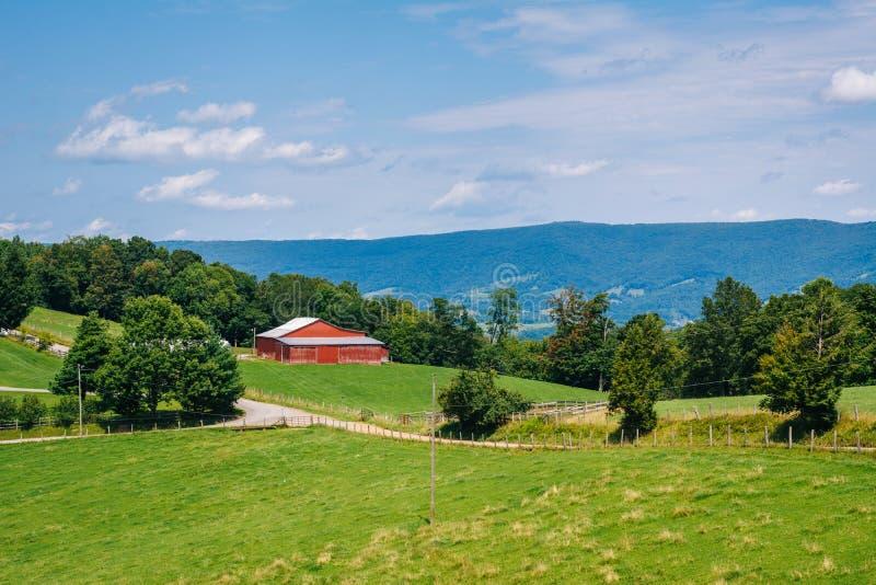Ansicht von Bauernh?fen in den l?ndlichen Potomac-Hochl?ndern von West Virginia lizenzfreie stockfotos