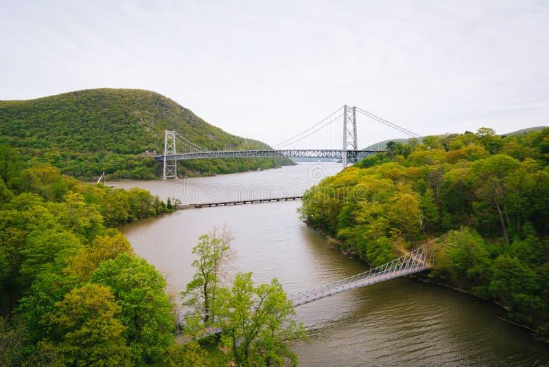 Ansicht von Bear Mountain-Brücke und von Hudson River, am Bear Mountain-Nationalpark, New York stockfotografie