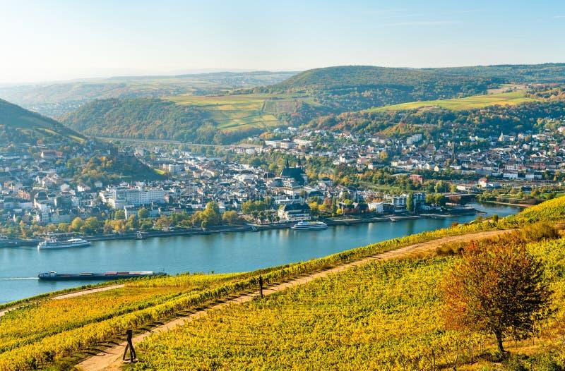 Ansicht von Bingen sind Rhein von Rudesheim-Weinbergen im Rhein-Tal, Deutschland stockbild