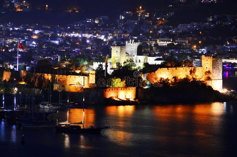 Ansicht von Bodrum-Hafen bis zum Nacht Das Türkische Riviera lizenzfreies stockfoto