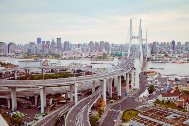 Ansicht von Brücke Shanghais Nanpu, Shanghai, China Ansicht von Brücke Shanghais Nanpu, Shanghai, China lizenzfreie stockfotografie