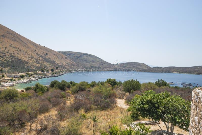 Ansicht von Bucht Porto Palermo stockfotos