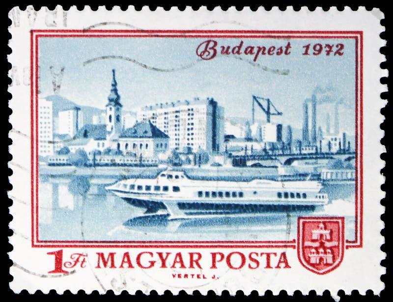 Ansicht von Budapest, 1972, Jahrhundert von Budapest-serie, circa 1972 lizenzfreie stockfotos