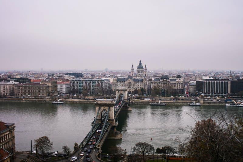 Ansicht von Budapest-Stadt vom Schloss stockbilder