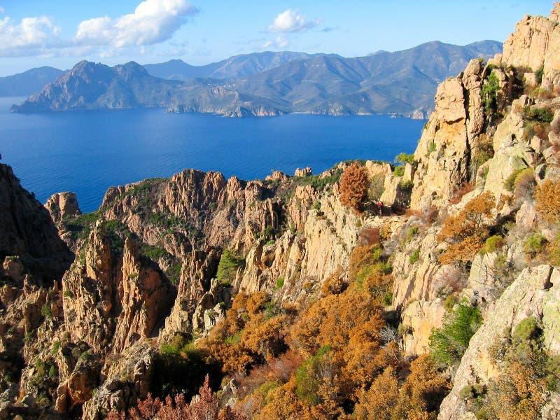 Ansicht von Calanques de Piana Korsika, Frankreich stockbild