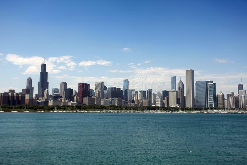 Ansicht von Chicago vom Adler Planetarium lizenzfreies stockfoto
