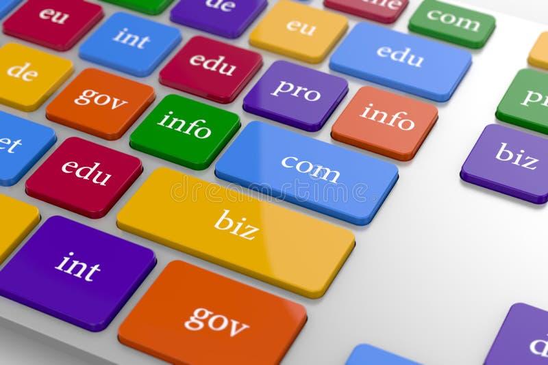 Ansicht von Computer kwyboard Knopf mit Farbdomain name knöpft stock abbildung