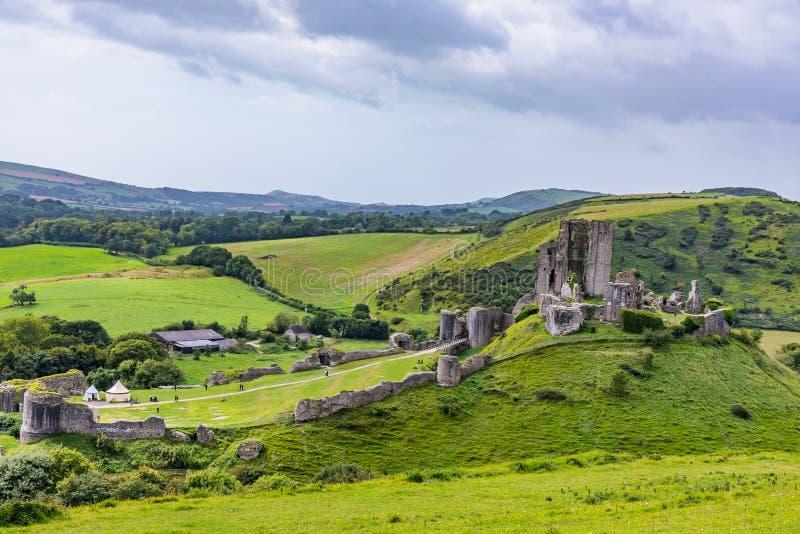 Ansicht von Corfe-Schlossruinen stockfotos
