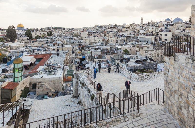 Ansicht von Damaskus-Tor zu alter Stadt Jerusalems israel stockfoto