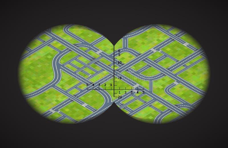 Ansicht von den Ferngläsern auf schwierigen Straßenkreuzungen in isometrischem lizenzfreie abbildung