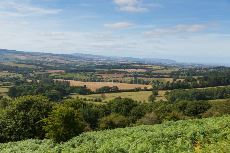 Ansicht von den Quantock-Hügeln Somerset England lizenzfreies stockbild