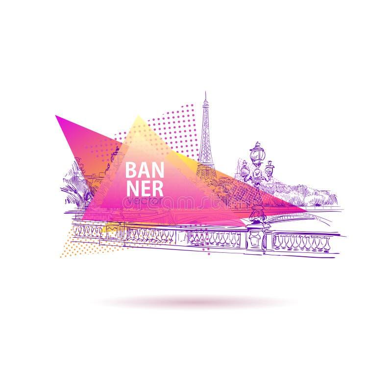 Ansicht von der Brücke Alexander III. zum Eiffelturm Paris, Frankreich Schablonenfahnen, Postkarten, Plakate Buntes geometrisches lizenzfreie abbildung